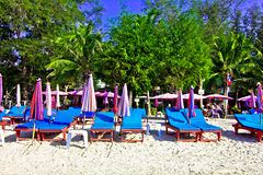 Suan son pradipat beach. A beach is beautiful, the green tree, the sky is blue Stock Images