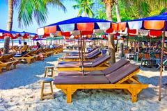 Suan son pradipat beach. A beach is beautiful, the green tree, the sky is blue Royalty Free Stock Photos