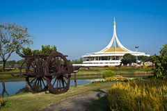 Suanluang Rama 9 public park on sunny day. View of monument in lake at public park, Suanluang Rama 9, Bangkok, Thailand royalty free stock photos
