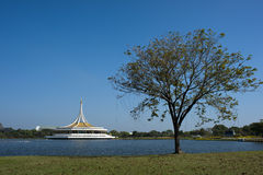 Suanluang Rama 9 public park on sunny day. View of monument in lake at public park, Suanluang Rama 9, Bangkok, Thailand royalty free stock images
