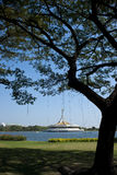 Suanluang Rama 9 public park on sunny day. View of monument in lake at public park, Suanluang Rama 9, Bangkok, Thailand stock photo