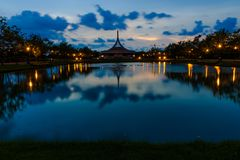 SuanLuang Rama 9 public park in Bangkok. Thailand after sunset royalty free stock photo