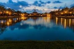 SuanLuang Rama 9 public park in Bangkok. Thailand after sunset Royalty Free Stock Photos