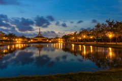 SuanLuang Rama 9 public park in Bangkok. Thailand after sunset royalty free stock photography