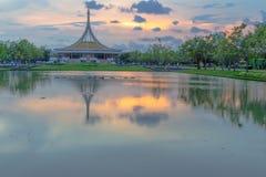 SuanLuang Rama 9 public park in Bangkok. Thailand after sunset Stock Image