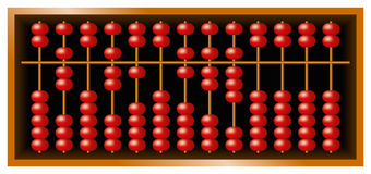 Suanpan Chinese abacus. Also Suan Pan and souanpan. Counting frame and calculating tool with red beads sliding on wires in a wooden box. It is still used today Royalty Free Stock Photos