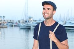 Suave male smiling portrait isolated with copy space.  Stock Photos