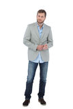 Suave man in a blazer. Posing on white background stock photo