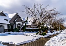 Subúrbio coberto de neve no distrito de Langley, Columbia Britânica, Canadá Fotos de Stock Royalty Free