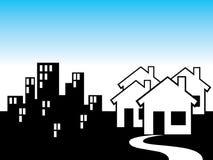 Subúrbio e a cidade Imagem de Stock
