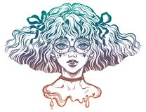 Girl with wavy hairstyle and cute make up and glasses. Kawaii and anime inspired teen with freckles. Sub culture girl with wavy hairstyle and cute make up and royalty free illustration
