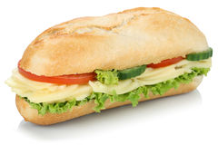 Sub deli sandwich baguette with cheese isolated Royalty Free Stock Photography