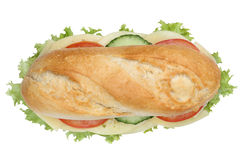 Sub deli sandwich baguette with cheese top view isolated Royalty Free Stock Image