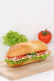 Sub deli sandwich baguette with ham and copyspace copy space Royalty Free Stock Photos