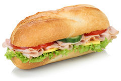 Sub deli sandwich baguette with ham isolated Royalty Free Stock Images