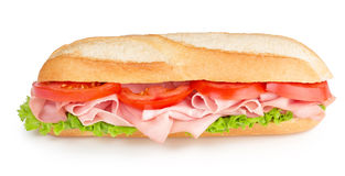 Sub with ham, tomato and lettuce Stock Images