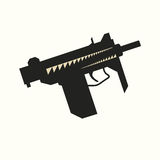 Sub-machine gun silhouette Stock Photography