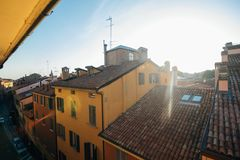 Morning View of Bologna City Italy houses on sunshine Royalty Free Stock Photography