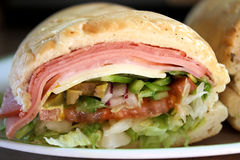 Sub Sandwich. With assorted meats, cheese and fresh veggies Royalty Free Stock Photo