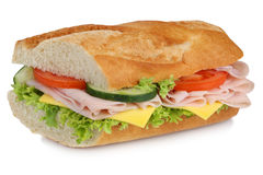 Sub sandwich baguette with ham for breakfast isolated Stock Photo