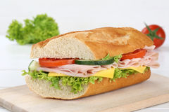 Sub sandwich baguette with ham Royalty Free Stock Image