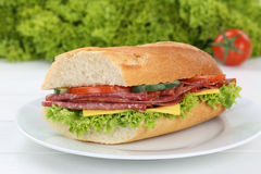Sub sandwich baguette on plate with salami ham for breakfast Royalty Free Stock Images