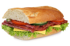 Sub sandwich baguette with salami ham for breakfast isolated Stock Image