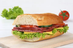 Sub sandwich baguette with salami ham Royalty Free Stock Photo