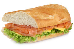 Sub sandwich baguette with salmon fish for breakfast isolated Royalty Free Stock Photo