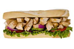 Sub sandwich. Huge sub sandwich isolated on white background Royalty Free Stock Photography