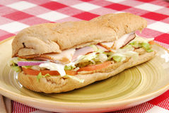 Sub sandwich on a plate Royalty Free Stock Photography