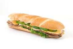 Sub Sandwich on White Royalty Free Stock Images