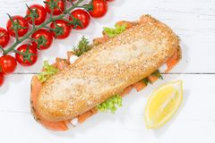 Sub sandwich whole grain grains baguette with salmon fish from a Royalty Free Stock Image