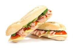 Sub sandwiches. Large sub sandwich isolated on white Stock Image