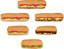 Sub Sandwiches. Six assorted footlong and six-inch submarine sandwiches Royalty Free Stock Photography