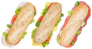 Sub sandwiches whole grains ham salami cheese from above isolate Stock Images