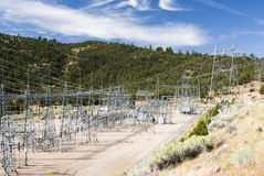 Sub-station. Electricity sub-station and transmission lines at Flaming Gorge Dam Stock Photo