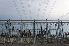 Sub station. High voltage sub station for tranfrom electricity Royalty Free Stock Images