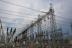 Sub station. High voltage sub station for tranfrom electricity Royalty Free Stock Photos