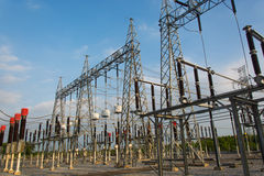 Sub station. High voltage sub station for tranfrom electricity Stock Photography