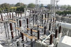 Sub Station High Voltage Electrical Power stock image