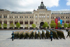 Sub-unit of blue berets marches on Red Square Royalty Free Stock Photos
