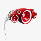 Sub woofer red. Powerful red subwoofer, 3d the image Royalty Free Stock Photos