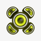 Sub woofer yellow. Powerful yellow subwoofer, 3d the image Stock Image