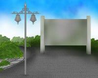 Suba a la muestra en el camino con el ejemplo de la luz de calle Foto de archivo libre de regalías