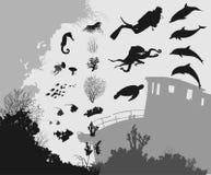 Subacuático ilustración del vector