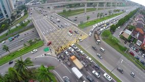High traffic on multi layered highway intersection in Subang Jaya, Kuala Lumpur. SUBANG JAYA, KUALA LUMPUR, MALAYSIA FEB 08 2018: High traffic on multi layered stock video