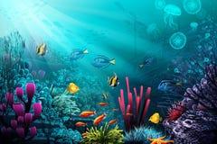 Subaquático-mundo ilustração royalty free