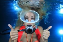Subaqueo femminile Fotografie Stock