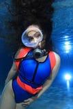 Subaqueo femminile fotografia stock